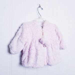 Widgeon Pink Faux Fur Hooded Pom Pom Coat, 9M
